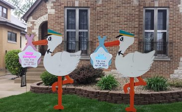 Twins boy and girl stork rental sign